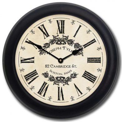 Charmant White Clock blk frm
