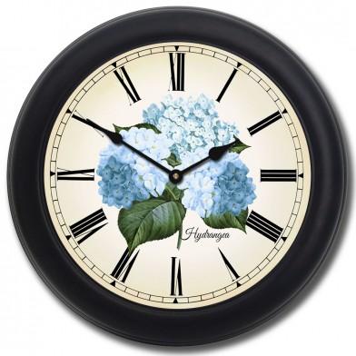 Hydrangea Clock blk frm