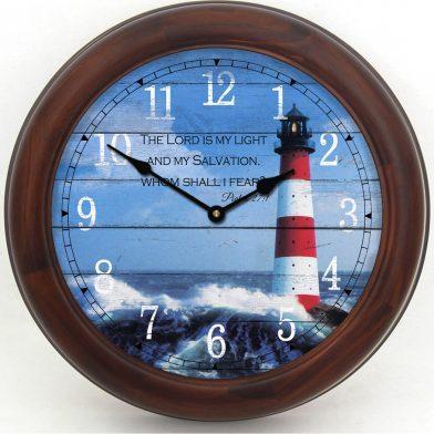 Lighthouse Clock brn frm