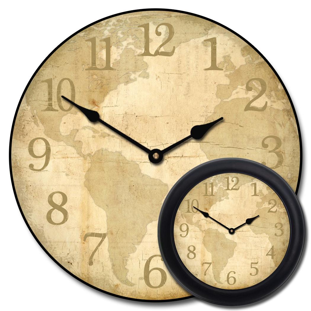 World Clocks Map | Travel Theme Decor | The Big Clock Store