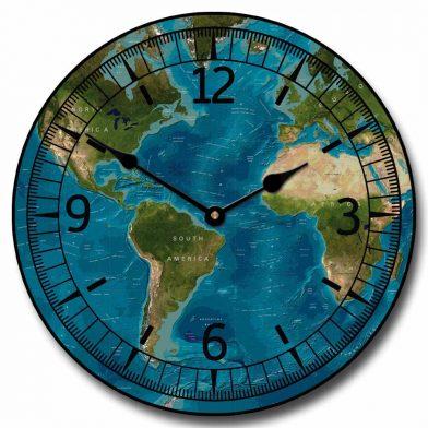 Tropical World Map Clock