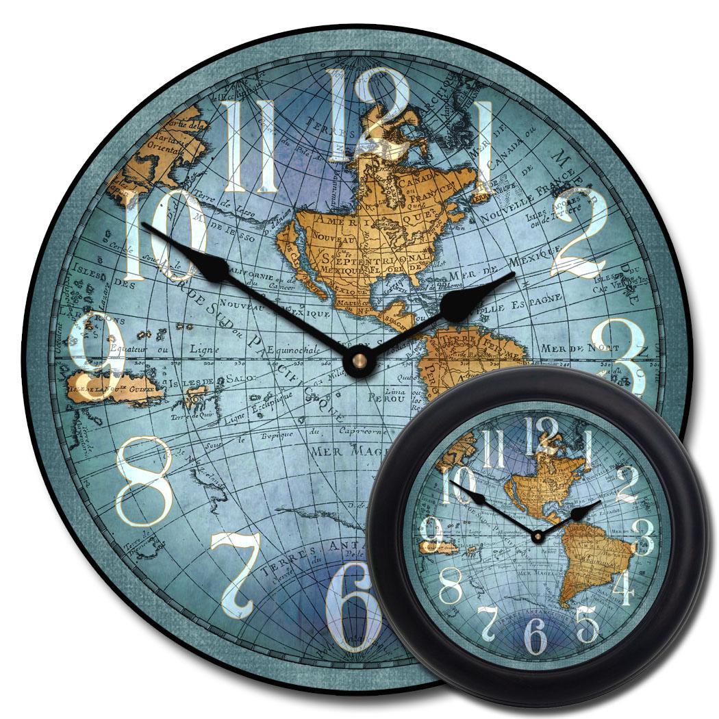 Vincenzo Blue World Map Clock The Big Clock Store