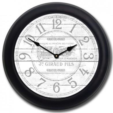 Vintage Parfum White Clock blk frm
