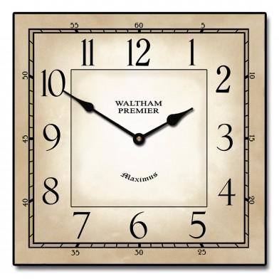 Waltham Parchment Square Clock