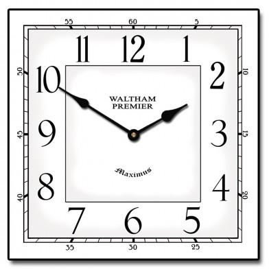 Waltham White Square Clock