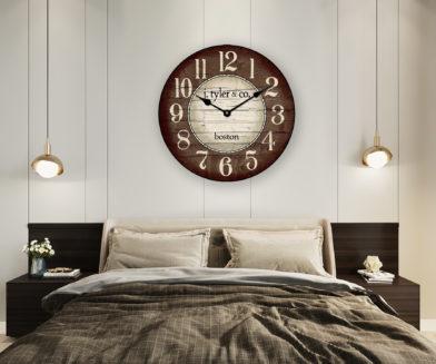 boston harbor brown wall clock in room