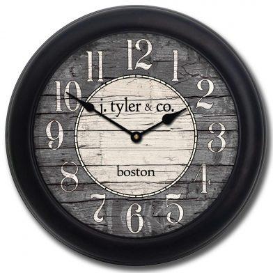 Boston Harbor Gray Clock blk frm