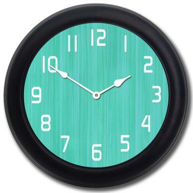 Retro Aqua Clock blk frm