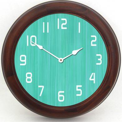 Retro Aqua Clock brn frm