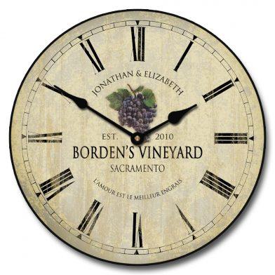 Wine Barrel Lid 3 Clock personalized