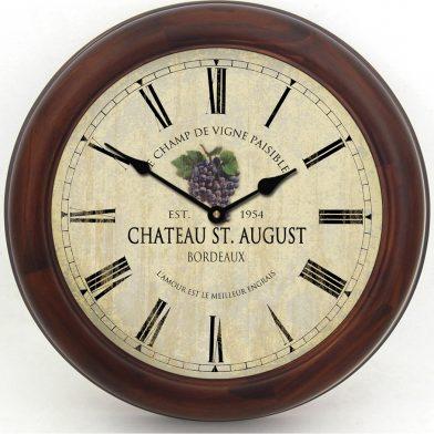 Wine Barrel Lid Clock 3 brn frm