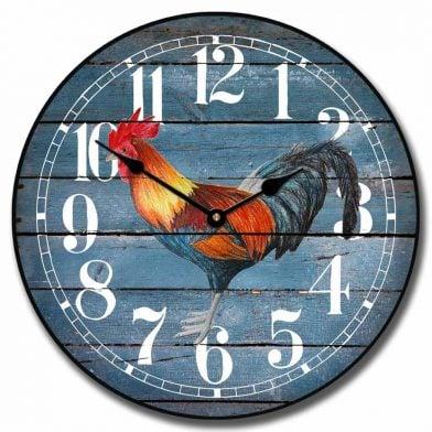 Barnwood Blue Rooster Clock