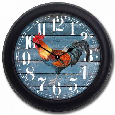 Barnwood Blue Rooster Clock blk frm