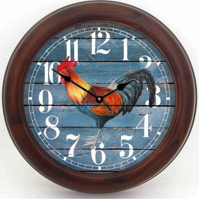 Barnwood Blue Rooster Clock brn frm