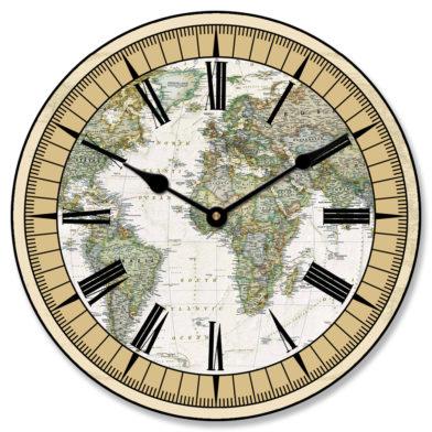 Nautical World Map Clock