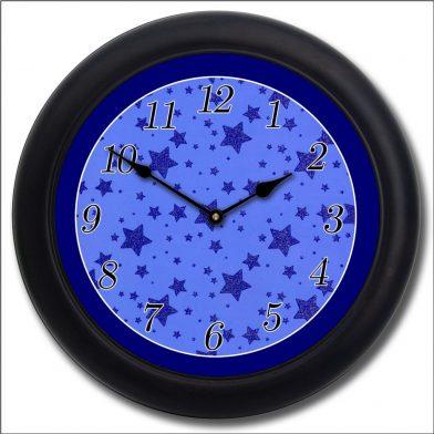 Blue Star Clock blk frm