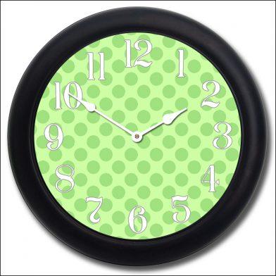Green Polka Dot Clock blk frm