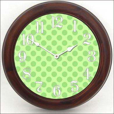 Green Polka Dot Clock brn frm