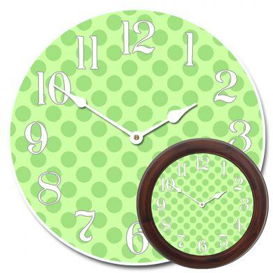 Green Polka Dot Clock mix