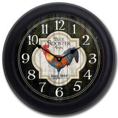 Blue Rooster Inn Clock blk frm