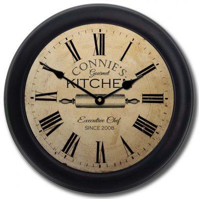 Gourmet Kitchen Clock blk frm