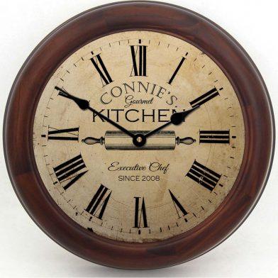 Gourmet Kitchen Clock brn frm