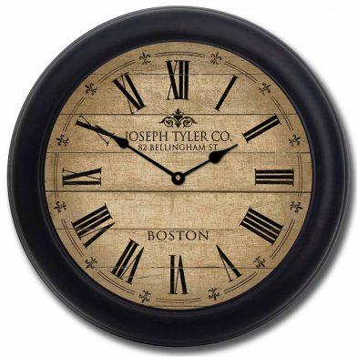 Barnwood Tan Clock blk frm