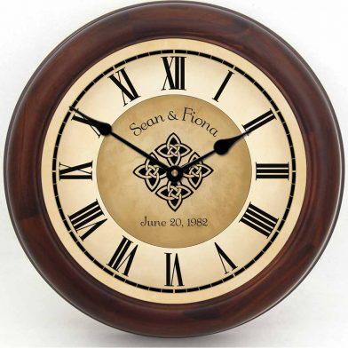 Irish Wedding Clock brn frm