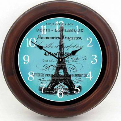 Paris Love Teal Clock brn frm