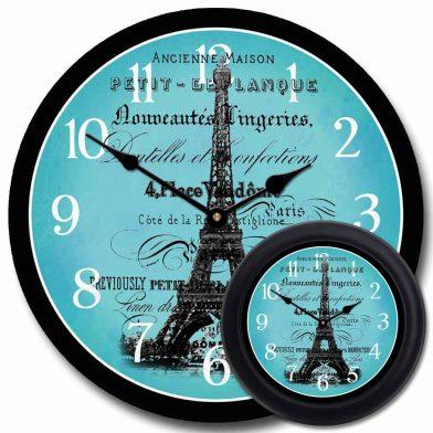 Paris Love Teal Clock mix