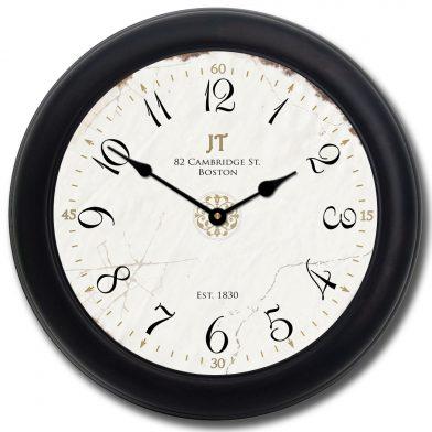 Vintage White Clock blk frm