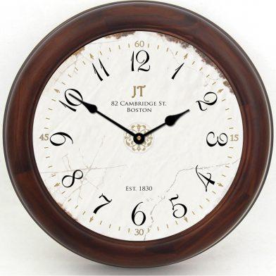 Vintage White Clock brn frm