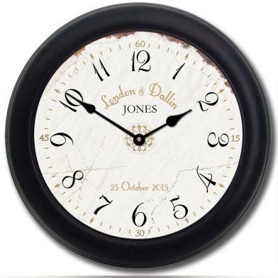 Vintage White Wedding Clock blk frm