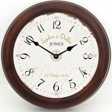 Vintage White Wedding Clock brn frm