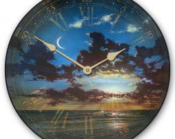 Golden Crescent Moon Clock