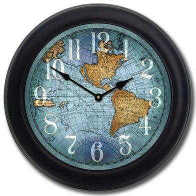 Vincenzo Blue World Map Clock