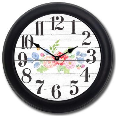 Barnwood Floral Clock blk frm