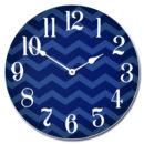 Chevron Navy Blue Clock