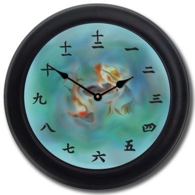 Japanese Koi Clock blk frm
