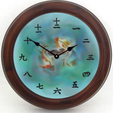 Japanese Koi Clock brn frm