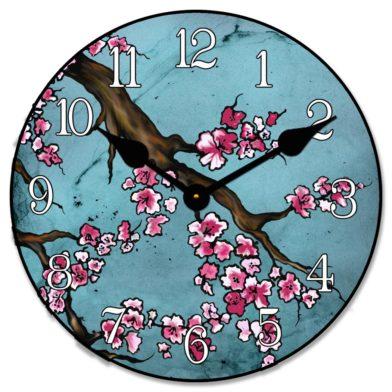 Cherry Blossom Blue Clock1