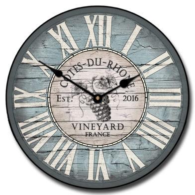 Wine Barrel Blue Clock