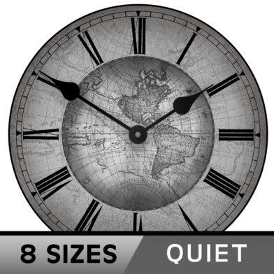 17th Century map gray second clock 8 sizes