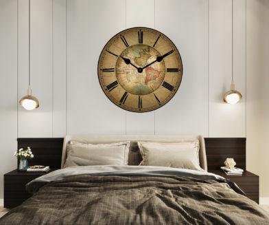 17th century world map clock in room