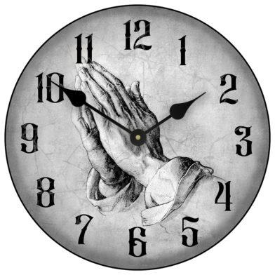 Prayer of faith clock gray